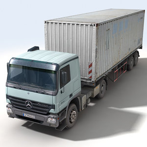 truck trailer container construction 3d model