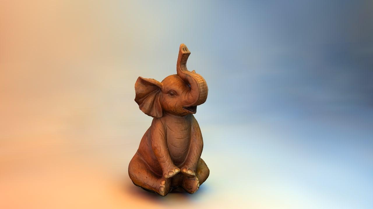 wooden elephant statue 3d obj