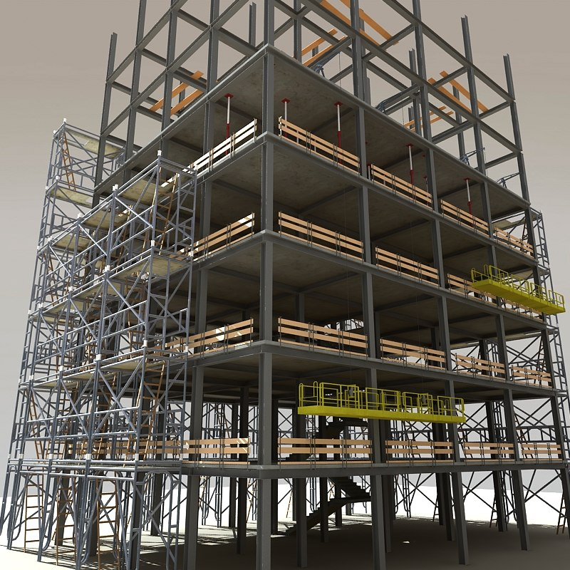 3d model modular steel construction scaffold