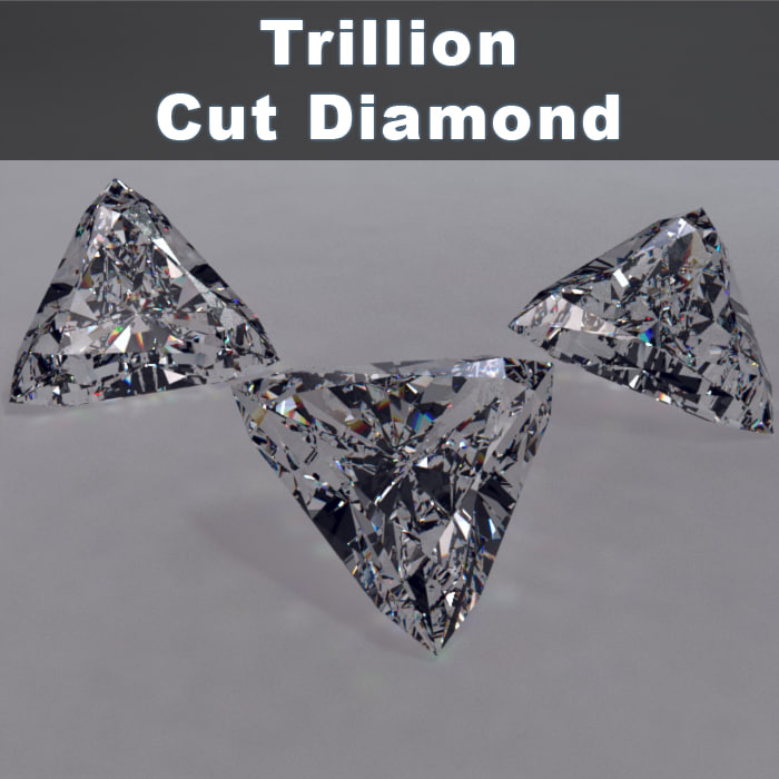 trillion cut diamonds 3d model