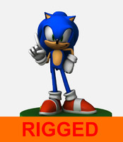 3d model rig sonic hedgehog