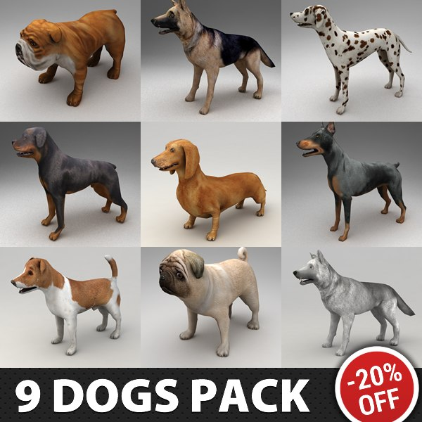 3d 9 rigged dogs