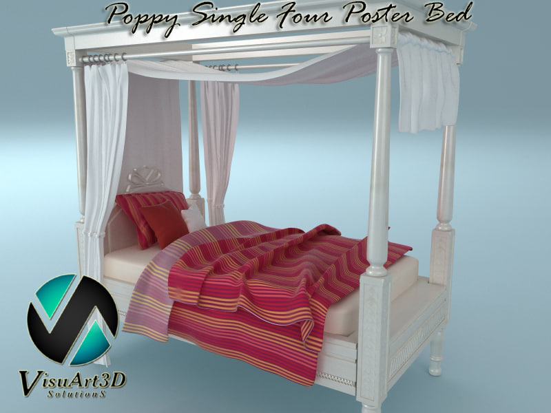 Single 4 Poster Bed Part - 49: 3d Poppy Single Poster Bed Model