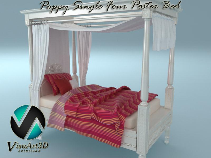 3d poppy single poster bed model