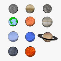 3d model cartoon planets toon