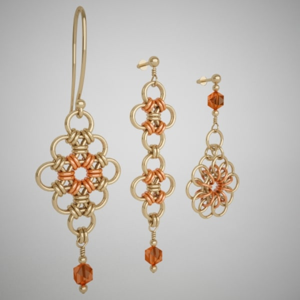 3d model flower pattern golden earrings