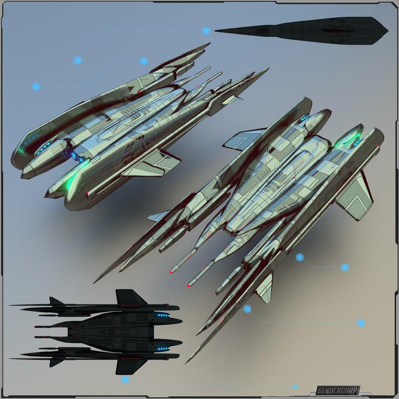 3d model drone fighter