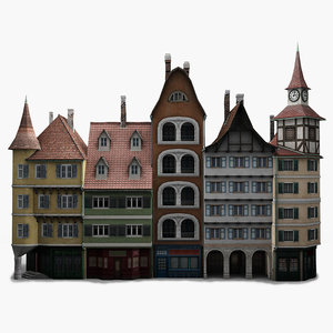 low-poly houses facades 3d model