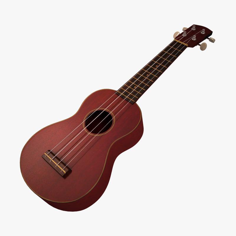 ukelele instrument string 3d model