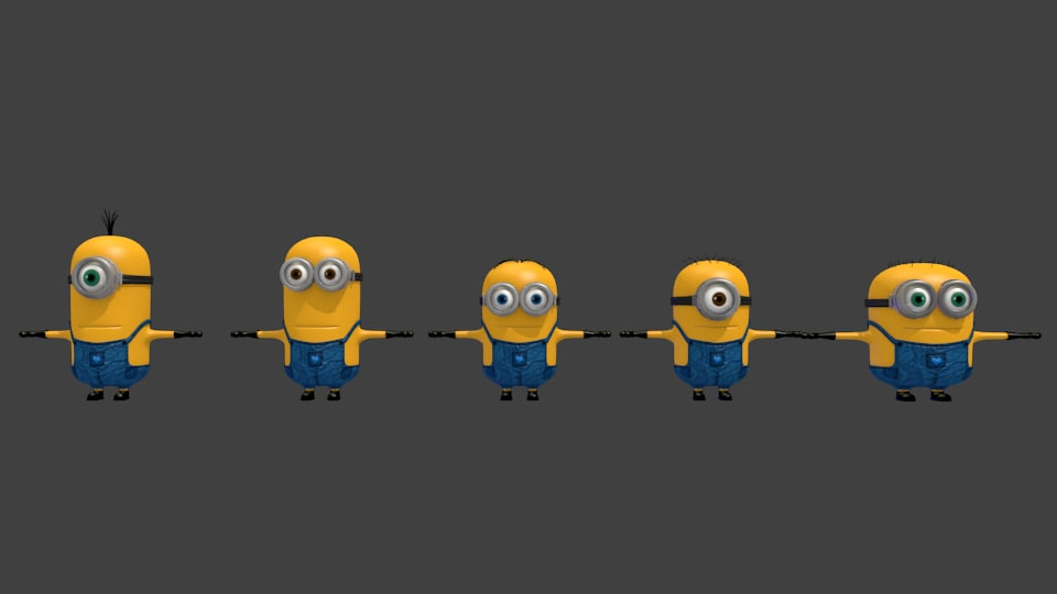 3d model of characters mnon cute