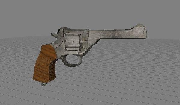 3d british webley revolver