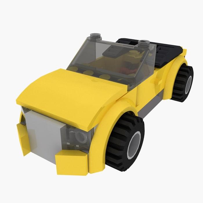 3d 3ds yellow car set lego