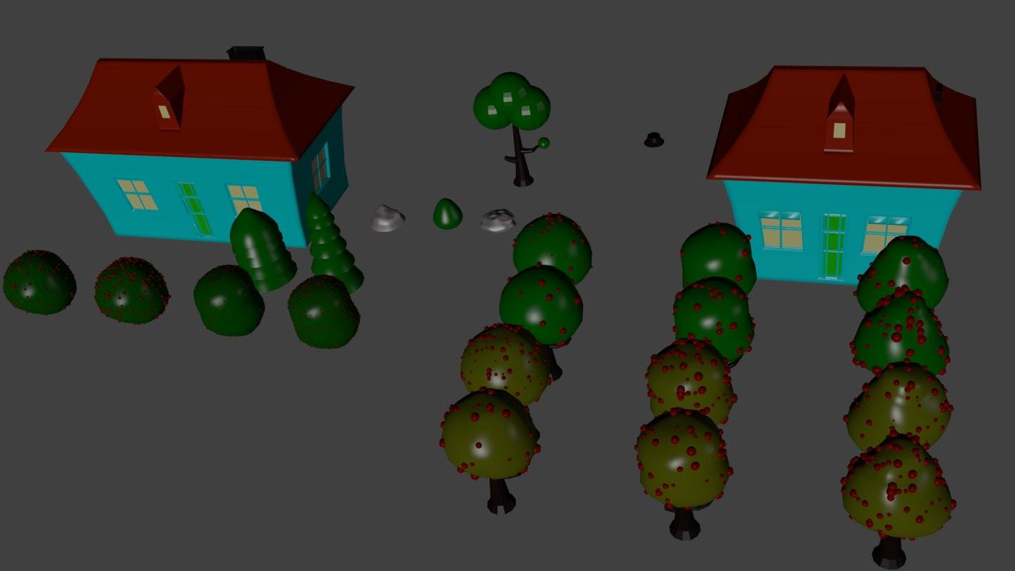 obj houses trees