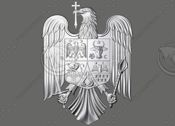 coat arms romania 3d model