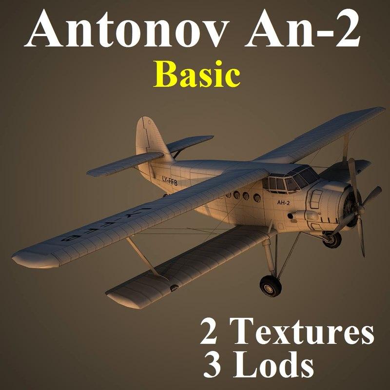 3d model antonov 2 basic aircraft