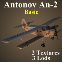 3d model antonov 2 basic aircraft