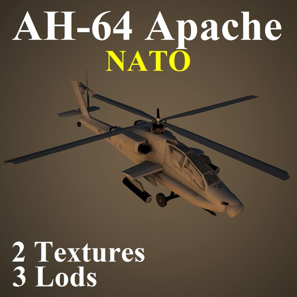 3d ah-64 apache nat attack helicopter model