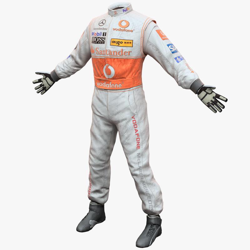 3d model racing driver clothes mercedes