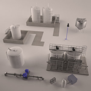 pack water treatment plant 3d max
