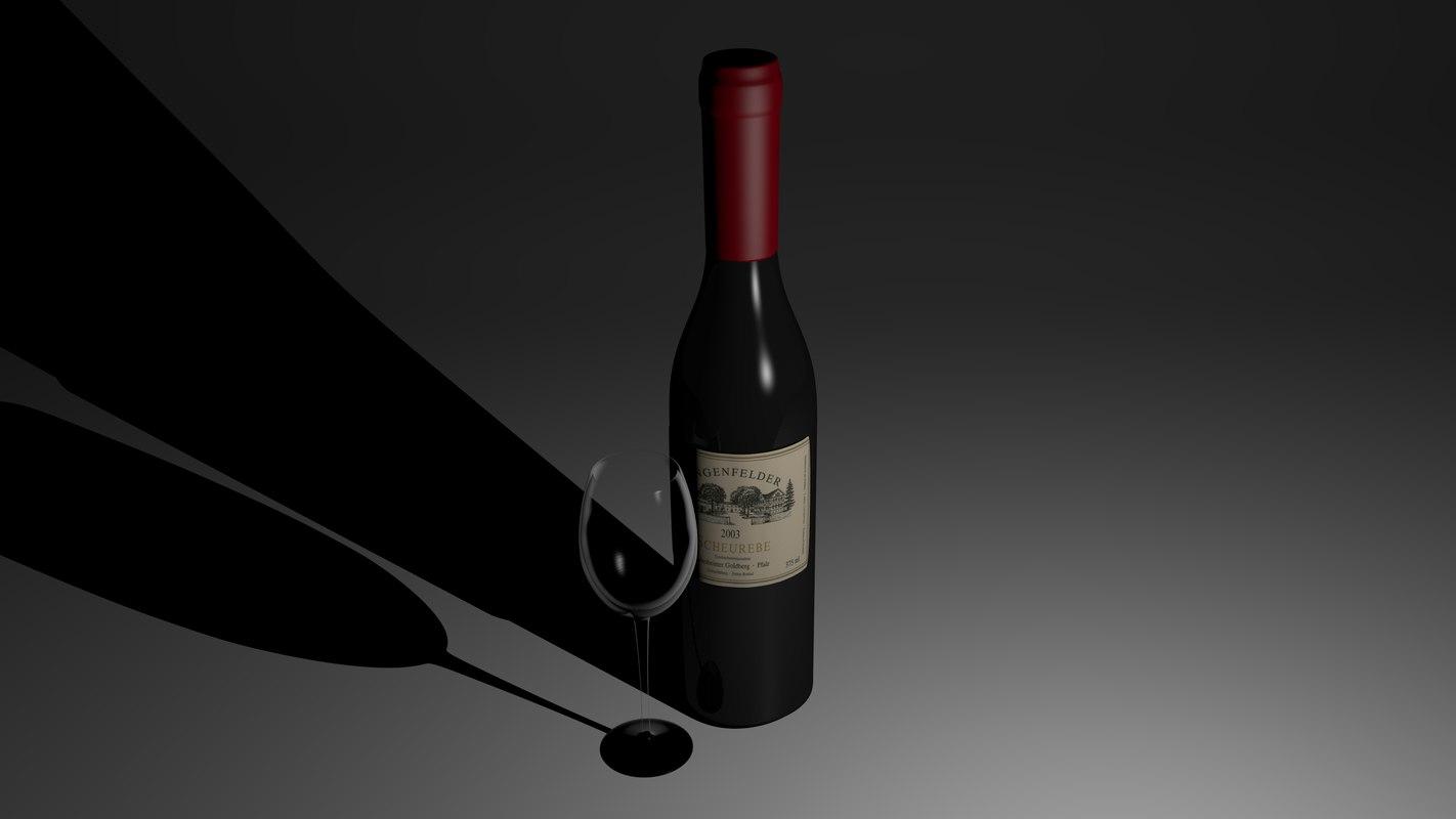 3ds wine bottle glass