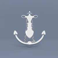 3d model anchor necklace print
