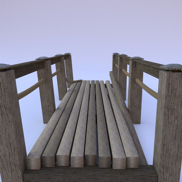 old wooden bridge 3d obj
