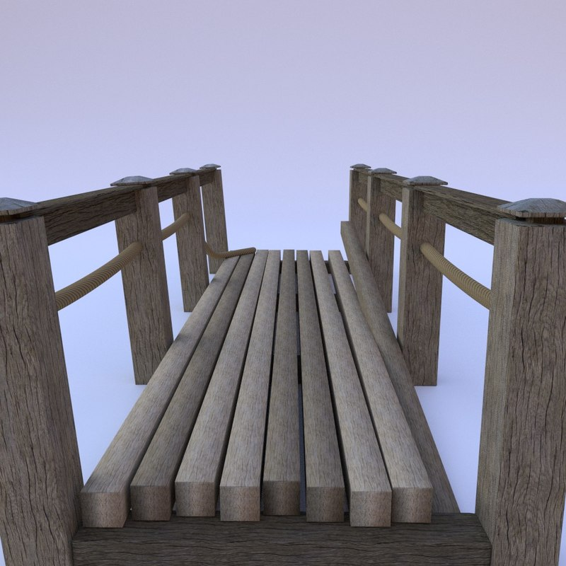 old wooden bridge 3d obj