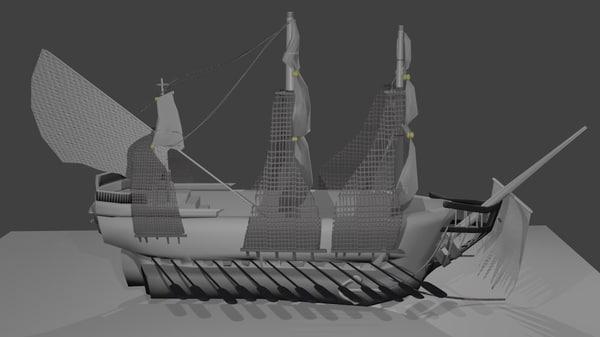 1700s pirate ship 3d model