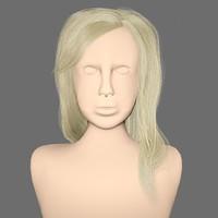 free obj mode hairstyle blonde hair head