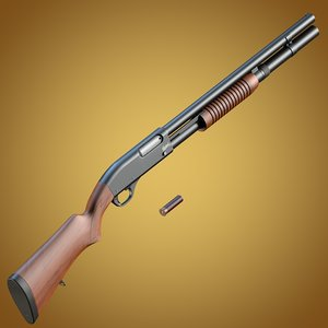 3d baikal mp-133 shotgun wooden model