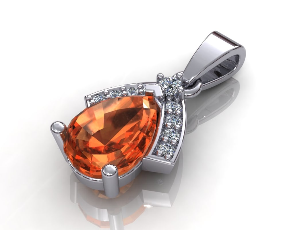 3d model of diamond pendant