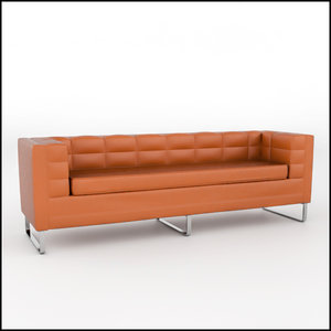 tufted leather sofa 3d model