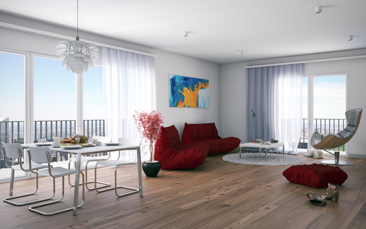 maya interior-livingroom-redsofa