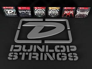 3d model jim dunlop guitar strings