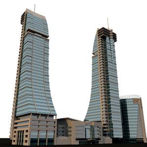 bahrain financial harbour 3d model