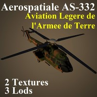 3d aerospatiale mi2 helicopter