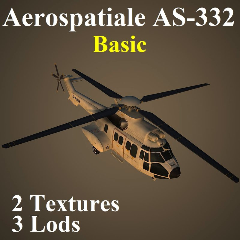 3d aerospatiale basic helicopter model