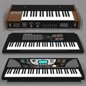 3d c4d piano synthesizer keyboard