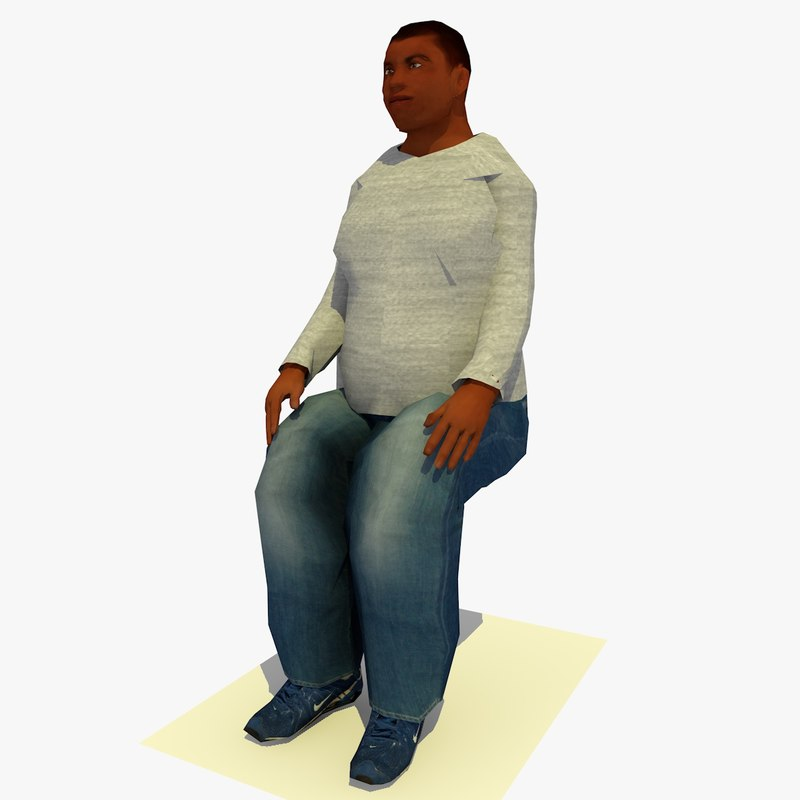 3d realistically seated african fat model