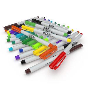 marker pens 3d model