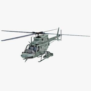 military heli bell oh 3d model