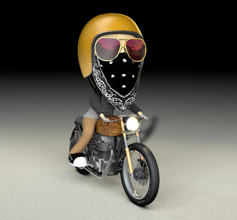 3d model of bobblehead bike wheels