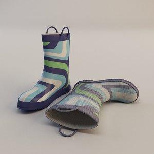 3d kid s rain boots model