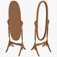 Wooden Cheval Floor Mirror
