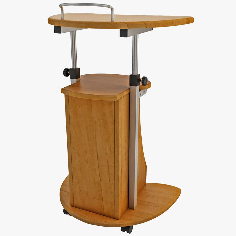 3d model wooden computer cart