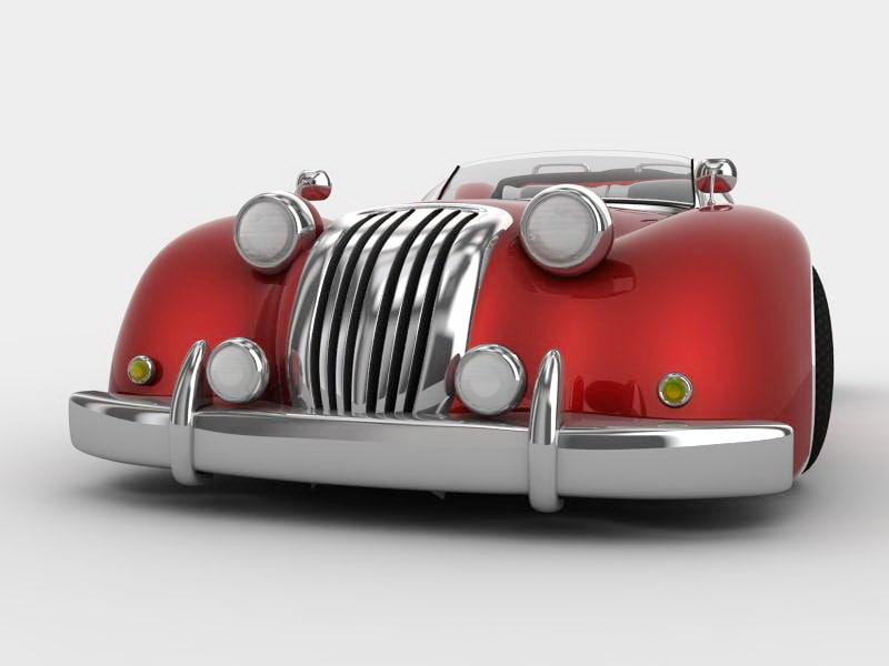 red retro car 3d model