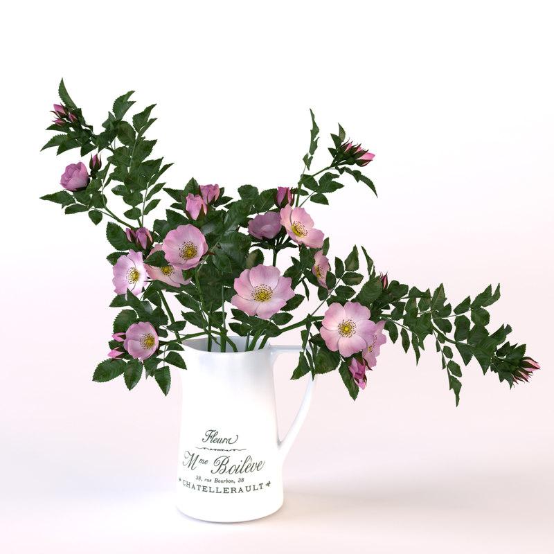 3d bouquet roses jug