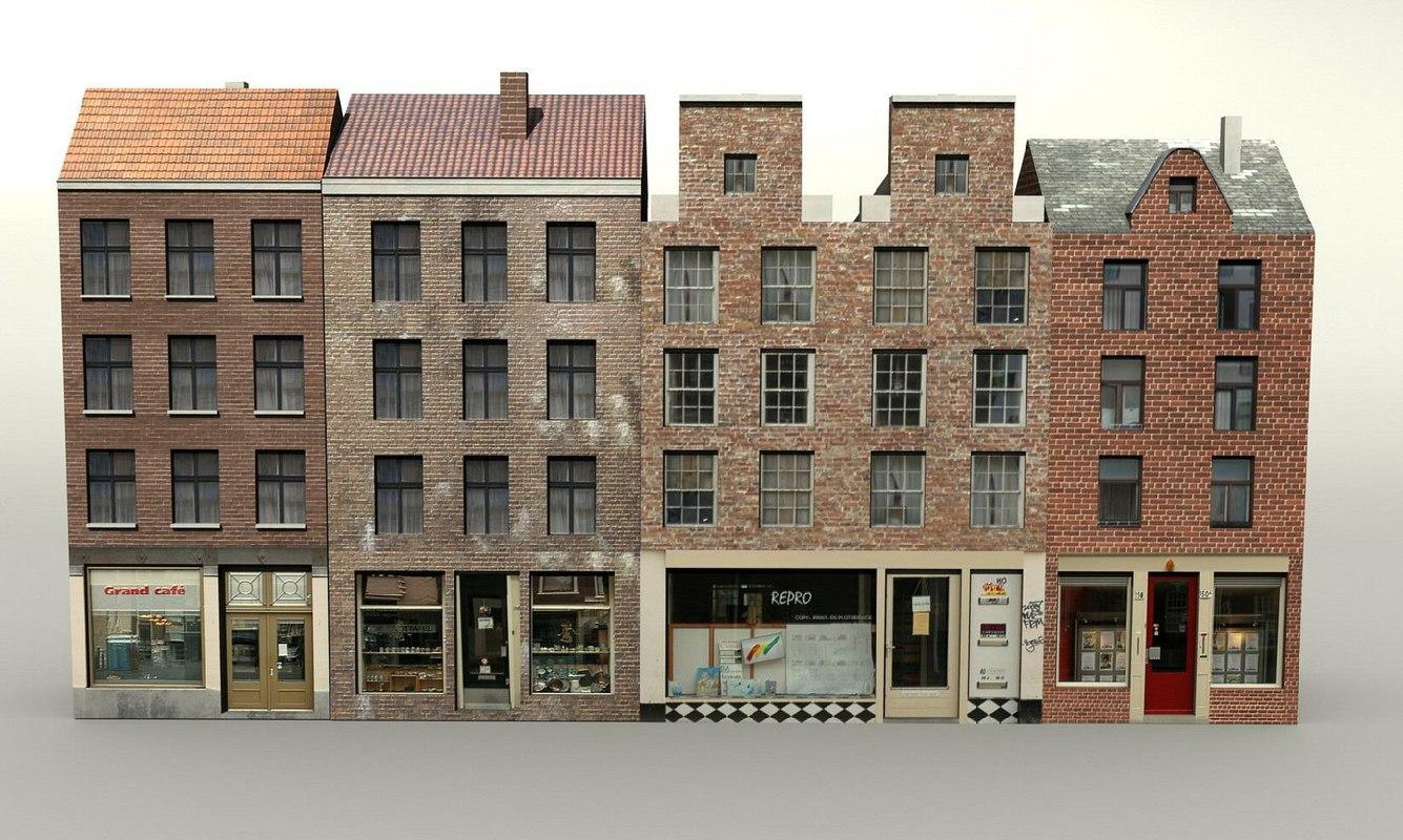 3d 3ds dutch buildings