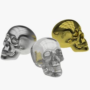 skull metal crystal 3d model