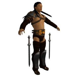 3d roman gladiator armor tattered